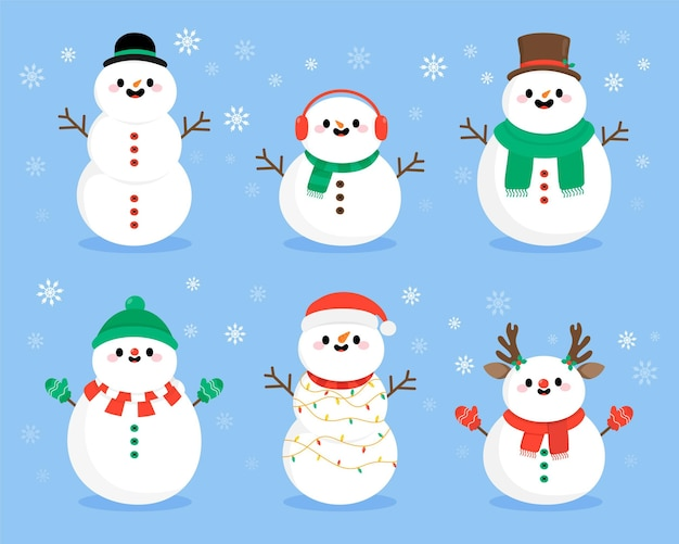 Hand drawn snowman character pack
