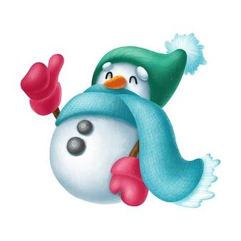 手描きの雪だるまのキャラクターの親指