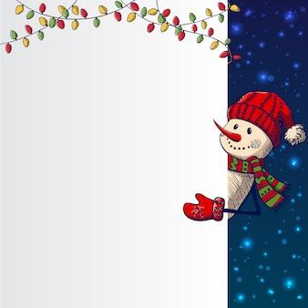 Hand drawn snowman holding card