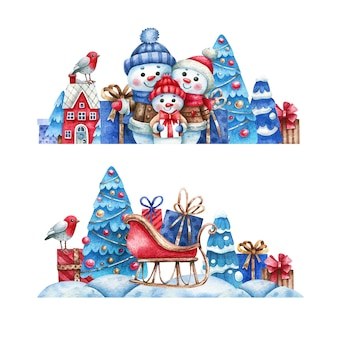 Hand drawn snowy scene banner set