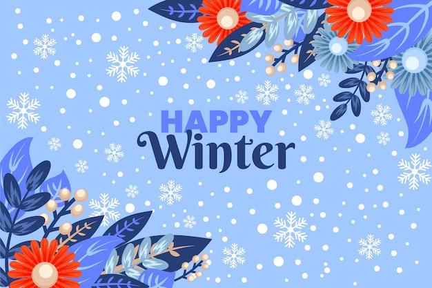 手描きの雪の冬の背景