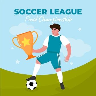 Нарисованная рукой иллюстрация финала футбольной лиги