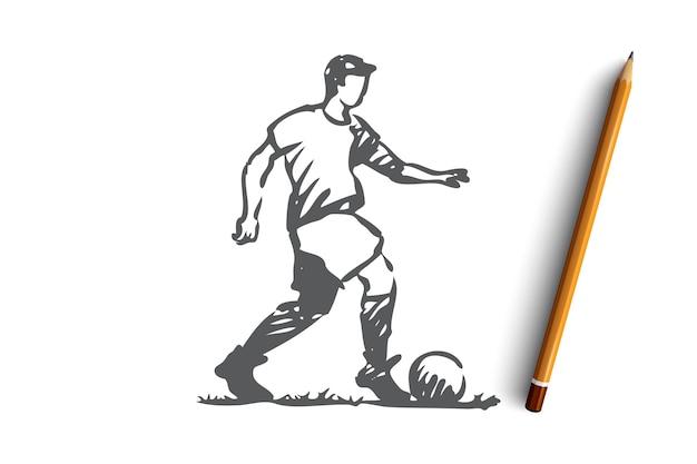 Ручной обращается футболист с эскизом концепции мяча