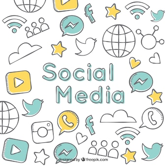 Hand drawn social media background