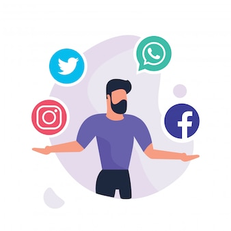 Hand drawn social media business people activities