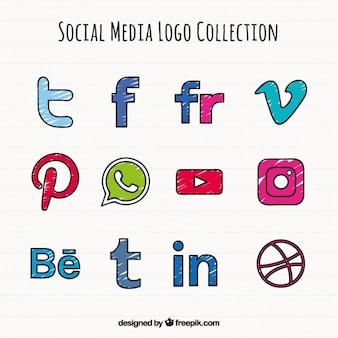 Hand drawn social media colored icons