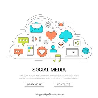 Hand drawn social media concept
