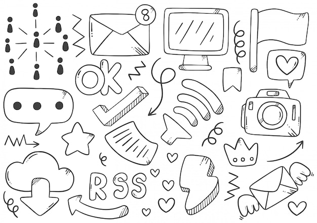 Hand drawn social media element collection