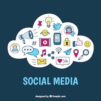 Hand drawn social media elements in a cloud shape