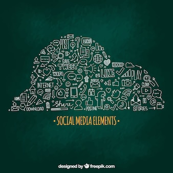 Hand drawn social media elements in a cloud shape