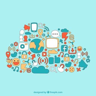 手で描かれたソーシャルメディア要素を雲の形で
