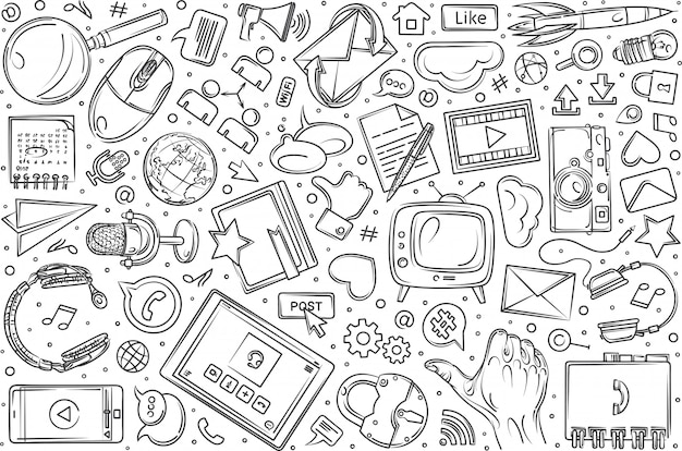 Hand drawn social media set doodle  background