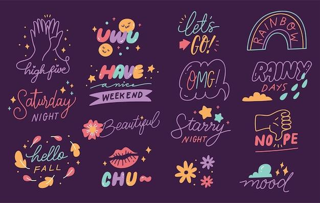 Hand drawn social media stickers set