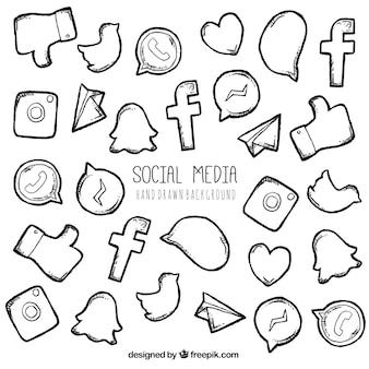 Hand drawn social network elements and logos Free Vector