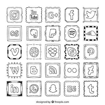 手描きのソーシャルネットワークのアイコンのコレクション