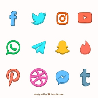 Hand drawn social network icons collection