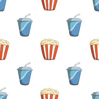Hand drawn soda cup and pop corn seamless pattern