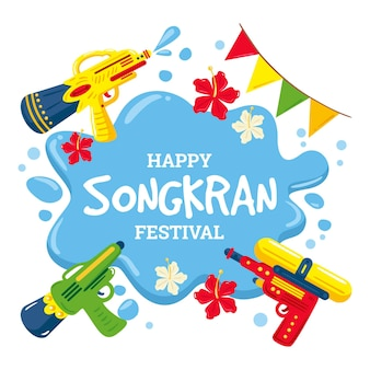 Hand drawn songkran celebration illustration