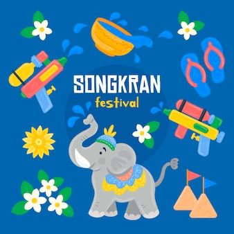 Hand drawn songkran celebration illustration