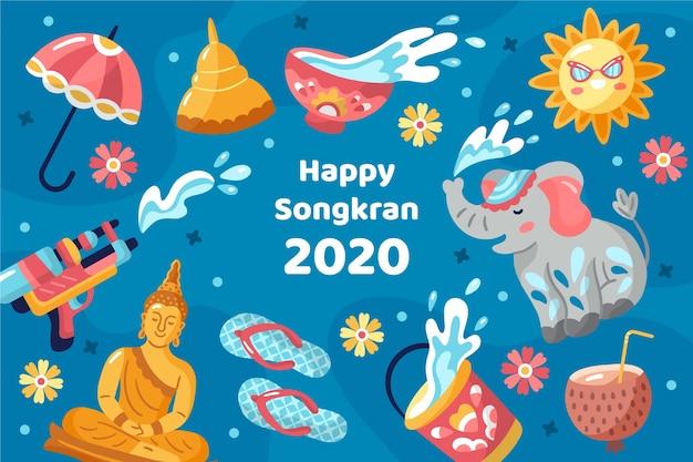 Hand drawn songkran concept