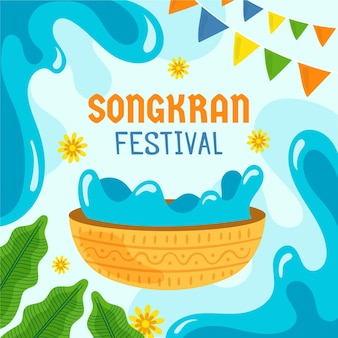 Hand drawn songkran illustration