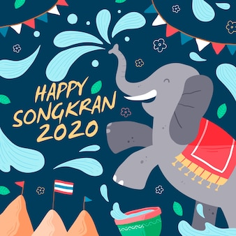 Hand drawn songkran