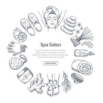 Hand drawn spa banner with elements in circle
