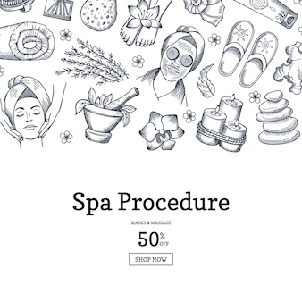Hand drawn spa banner