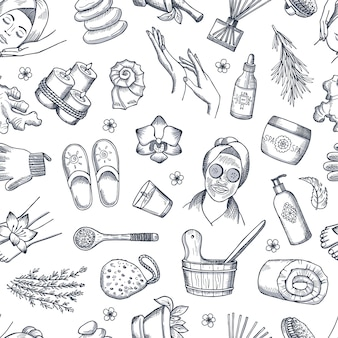 Hand drawn spa elements background or pattern