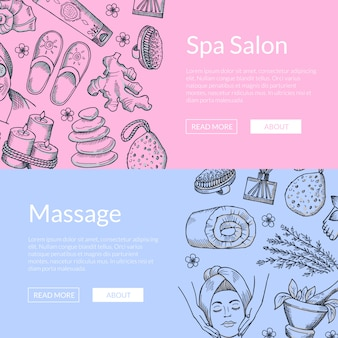 Hand drawn spa elements horizontal web banners