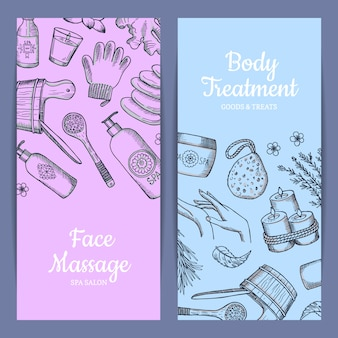 Hand drawn spa elements vertical web banner set