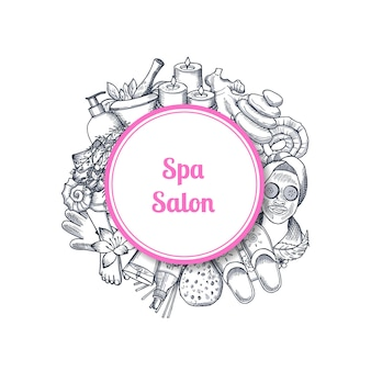 Hand drawn spa salon with elements in frame