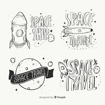 Hand drawn space badge collection