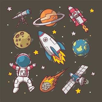 Набор рисованной космический милый рисунок