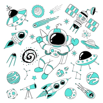Hand drawn space doodle need more space in black and turquoise colour