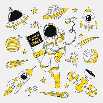 Hand drawn space doodle need more space in black and yellow colour