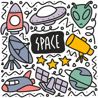 Hand drawn space doodle set with icons and design elements