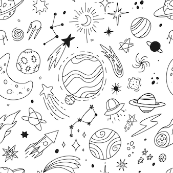 Hand drawn space doodle universe planets stars sketch cute rocket comet moon vector seamless pattern