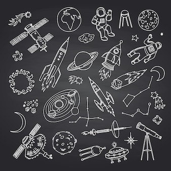 Hand drawn space elements on black chalkboard