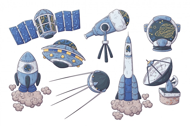 Hand drawn space elements collection illustration.