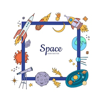 Hand drawn space elements flying