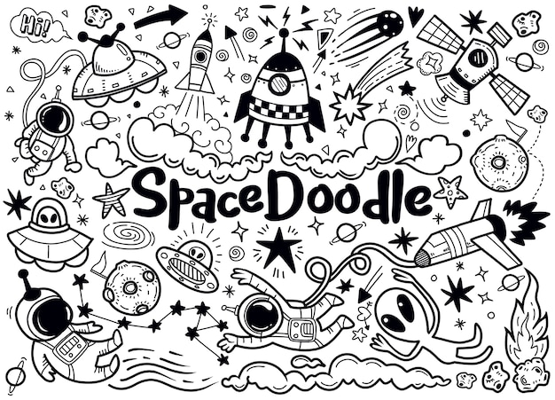 Hand drawn space elements pattern
