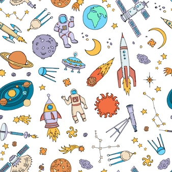 Hand drawn space elements or pattern