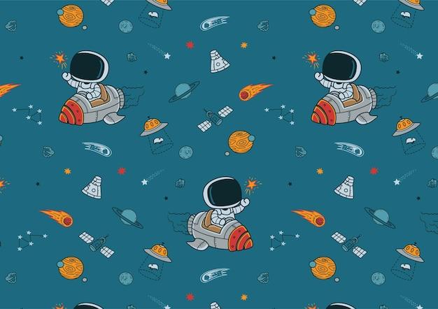 手描きの宇宙ロケットパターン
