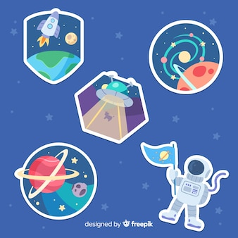 Hand drawn space sticker pack
