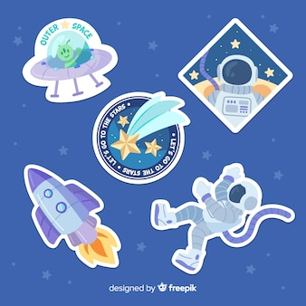 Hand drawn space sticker set