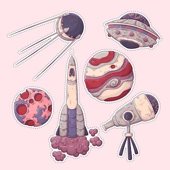 Коллекция рисованной космических стикеров