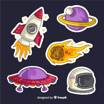 Hand drawn space stickers pack