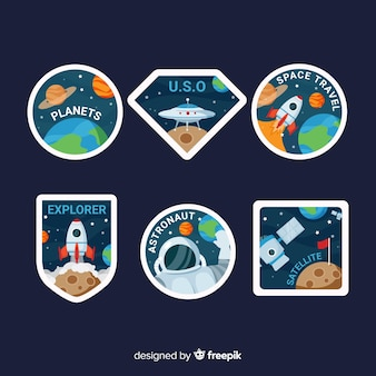 Hand drawn space stickers set
