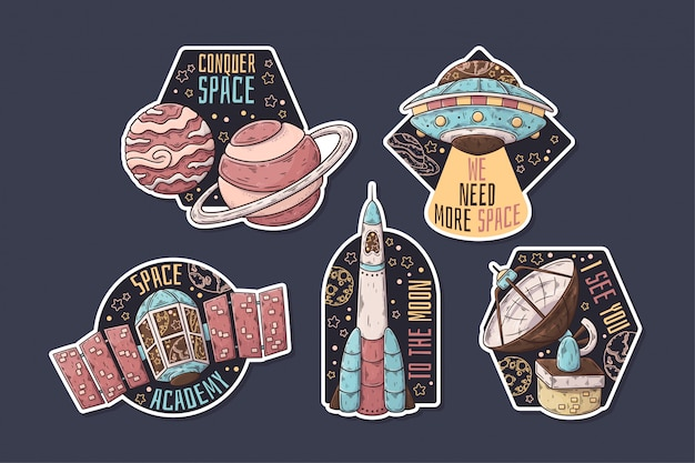 Hand drawn space stickers with thematic collection